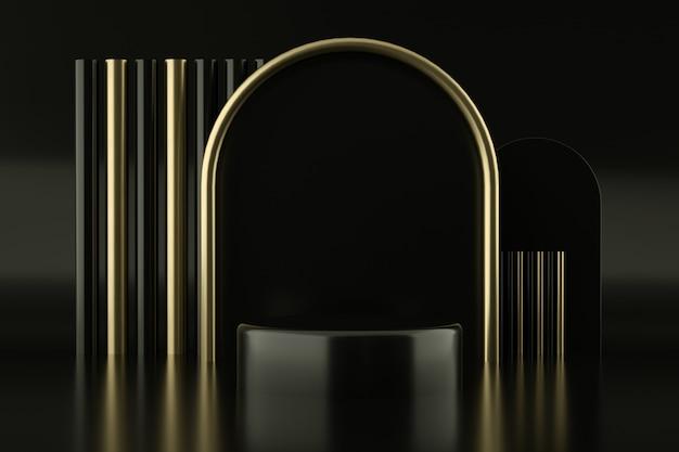 Schwarzes podium mit goldenem bogen