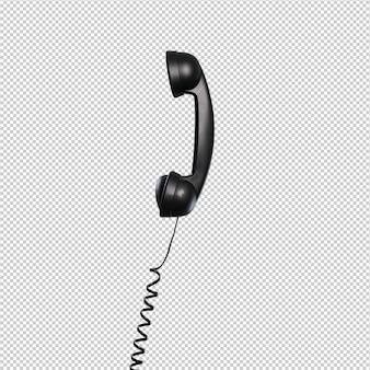 Schwarzes telefon über weißem hintergrund
