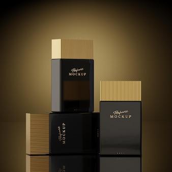 Schwarzes und goldenes luxusparfümmodell auf schwarzem und goldenem hintergrund für logo-branding 3d-rendering