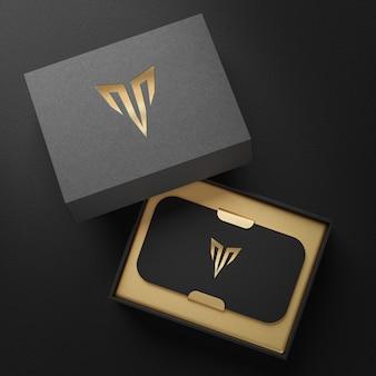 Schwarzes visitenkartenhalterboxmodell für markenidentitäts-3d-rendering