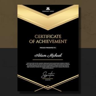 Schwarzgold-zertifikat der leistungsvorlage