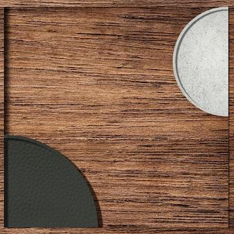 Schwarzweiss-halbkreismuster auf hölzernem hintergrundvektor