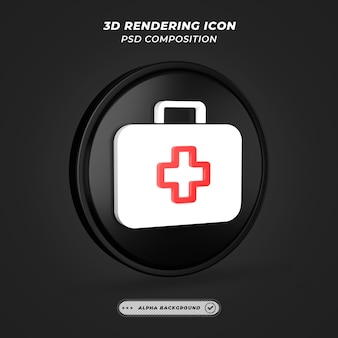 Schwarzweiss-medizinisches kit-symbol beim 3d-rendering