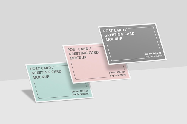 Schwebendes postkartenmodell oder einladungskarte