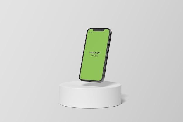 Schwebendes und minimalistisches telefonmodell auf dem podium