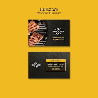 Schwermütige grill-visitenkarteschablone