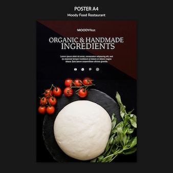 Schwermütige lebensmittelrestaurant-plakatschablone mit mozzarellakäse
