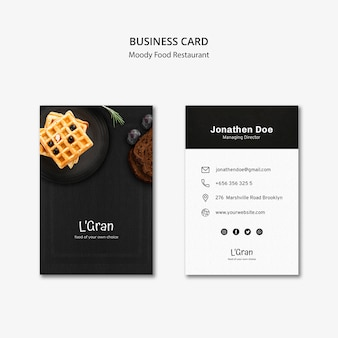 Schwermütige lebensmittelrestaurant-visitenkarte