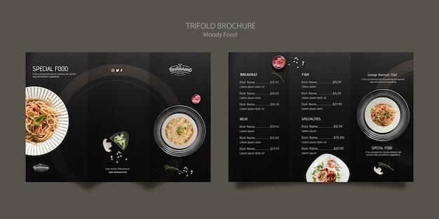 Schwermütiges lebensmittelrestaurant-dreifachgefaltetes broschüren-konzeptmodell