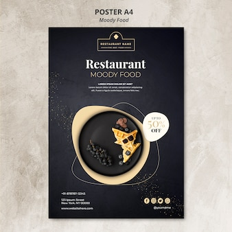 Schwermütiges lebensmittelrestaurant-plakatkonzept