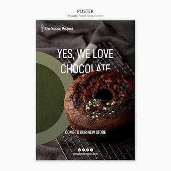 Schwermütiges lebensmittelrestaurant-schablonenkonzept für plakat