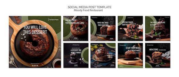 Schwermütiges lebensmittelrestaurant-schablonenkonzept für social media-beitrag