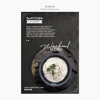 Schwermütiges lebensmittelrestaurantflieger-konzeptmodell