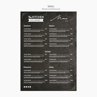 Schwermütiges lebensmittelrestaurantmenü-konzeptmodell