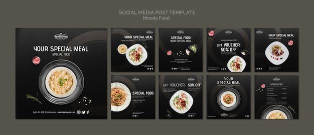 Schwermütiges lebensmittelrestaurantsocial media-beitragsschablonenkonzeptmodell