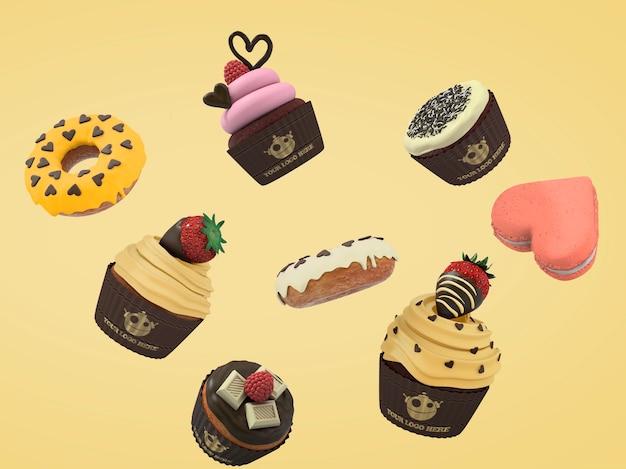 Schwimmende kuchen und cupcakes