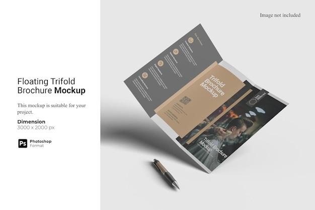 Schwimmendes, dreifach gefaltetes broschürenmodell Premium PSD