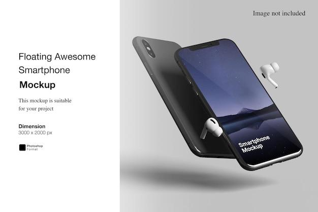 Schwimmendes fantastisches smartphone-mockup Premium PSD