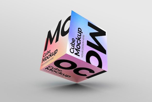 Schwimmendes kubisches box-mockup für branding und produktpräsentationen