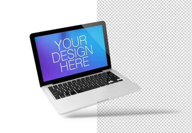 Schwimmendes modell des laptops isoliert