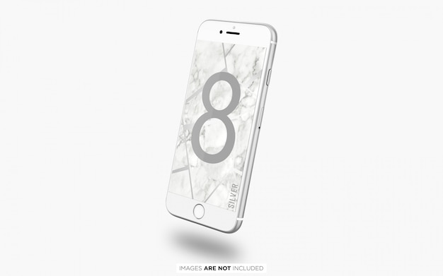 Schwimmendes silber iphone 8 psd-modell