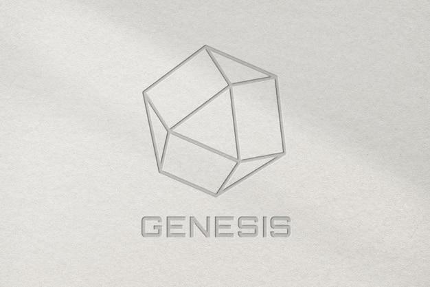 Science lab business logo psd-vorlage genesis im geprägten stil
