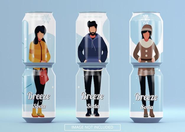 Sechs stehende bierdosen-soda können sich für das branding-logo-etikett oder den aufkleberaufkleber verspotten