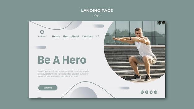 Sei ein held, mache sport im freien landing page
