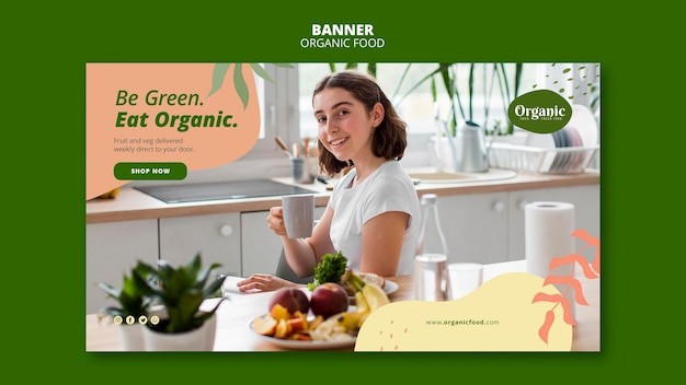 Seien sie grün essen organische banner web-vorlage