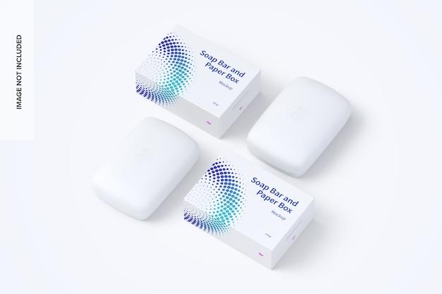 Seifenstücke und papierboxen mockup