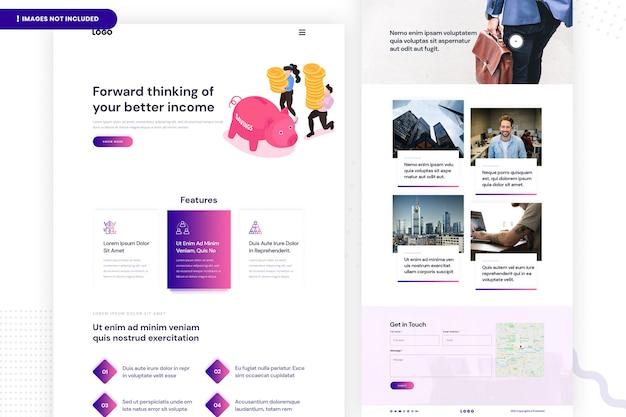 Seiten-design für einsparungswebsites