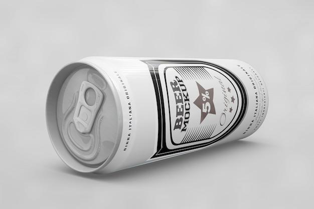 Seitenansicht bier kann mock up