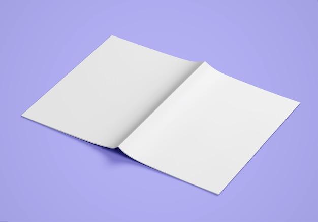 Seitenansicht des leeren weißen papiers zweifach gefaltete broschüre