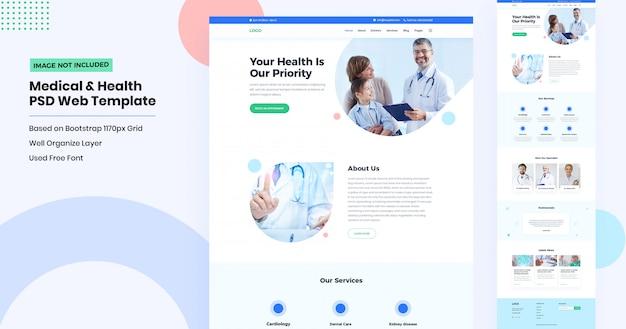 Seitengestaltung für gesundheits- und medizinische websites