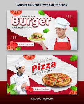 Selbstgemachtes rezept für die zubereitung von speisen, youtube-miniaturansicht oder webbanner-design