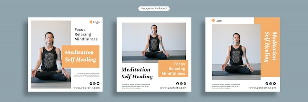 Selbstheilende social media-bannerschablone der meditation oder quadratische flyersammlung