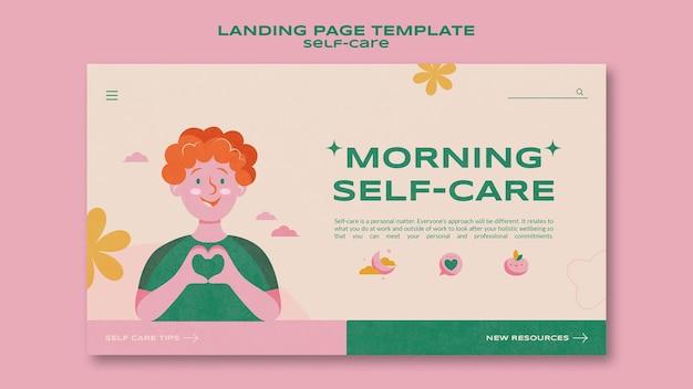 Selbstpflege-landingpage-vorlage am morgen
