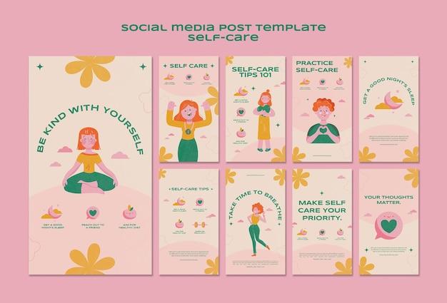 Self-care-postpaket für soziale medien