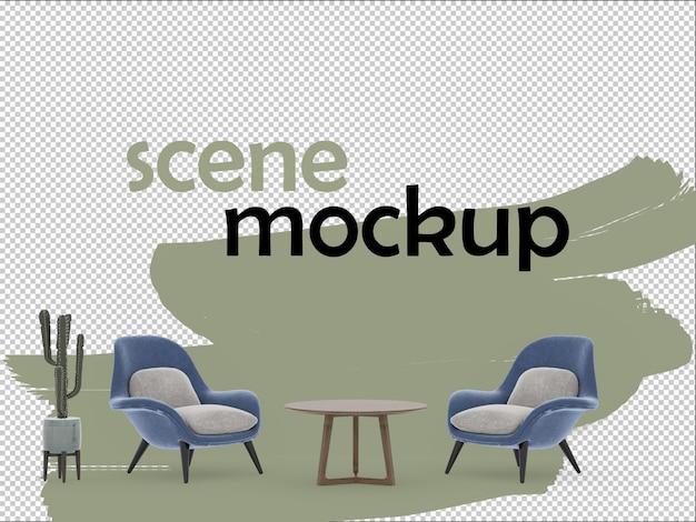 Sessel und couchtisch in 3d-rendering