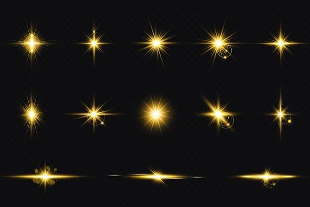 Set aus goldenen transparenten lichtlinsen-flares-streifen großes set