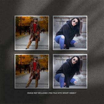 Set aus quadratischem papierrahmen-fotomodell und schattenüberlagerung