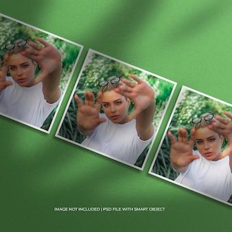 Set aus quadratischem papierrahmen-fotomodell