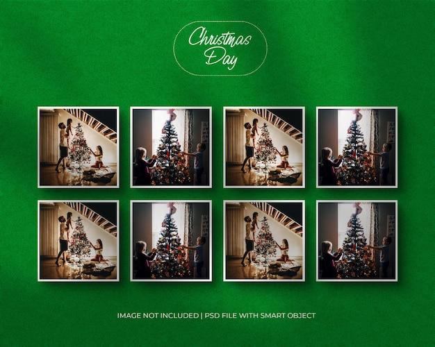 Set aus quadratischem papierrahmenmodell für weihnachten und frohe weihnachten