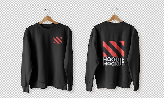 Set aus schwarzem hoodie vorne und hinten mockup