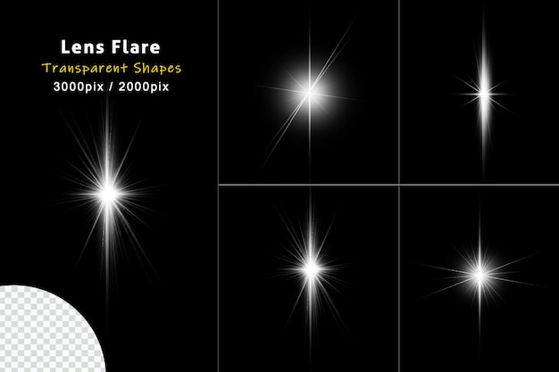 Set aus transparentem weißlichtstreifen und lens flare