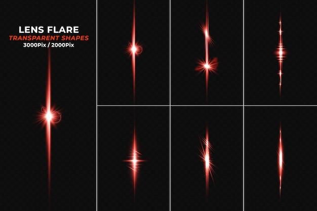 Set lens flares mit transparentem rotlichtstreifen