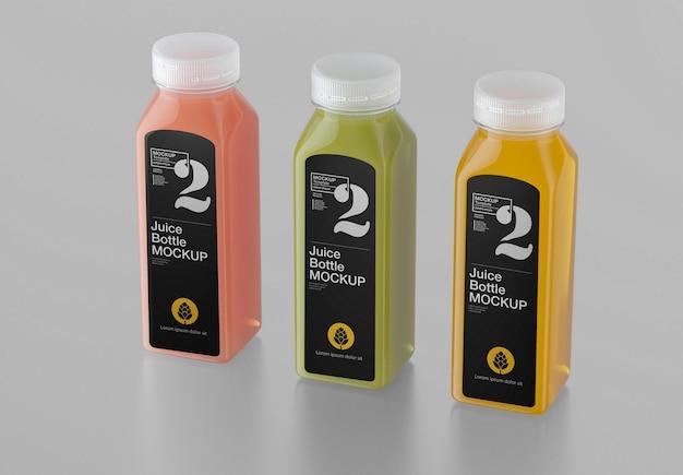 Set mit 3 juice plastikflaschen mockup design