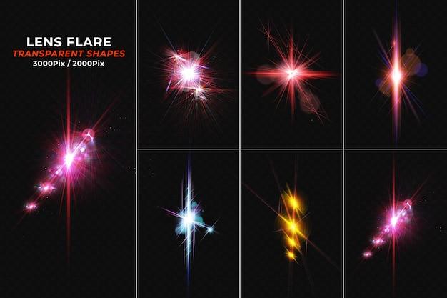 Set realistischer bunt leuchtender lens flares