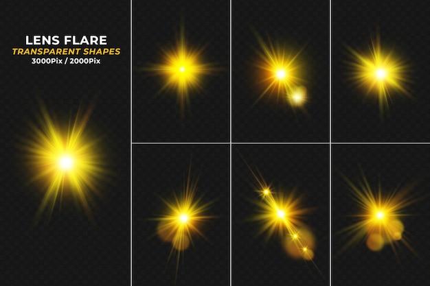 Set realistischer golden leuchtender lens flares