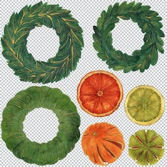 Set von elementen für dekorativen weihnachtskranz